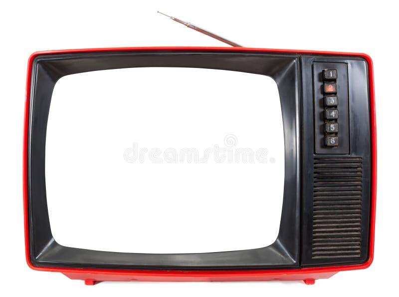 与在白色隔绝的保险开关屏幕的葡萄酒便携式的电视 免版税库存图片