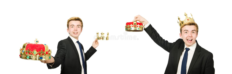 与在白色隔绝的冠的商人 免版税库存图片