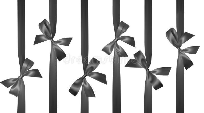 与在白色隔绝的垂直的黑丝带的现实黑弓 装饰礼物的元素,问候,假日 向量 皇族释放例证