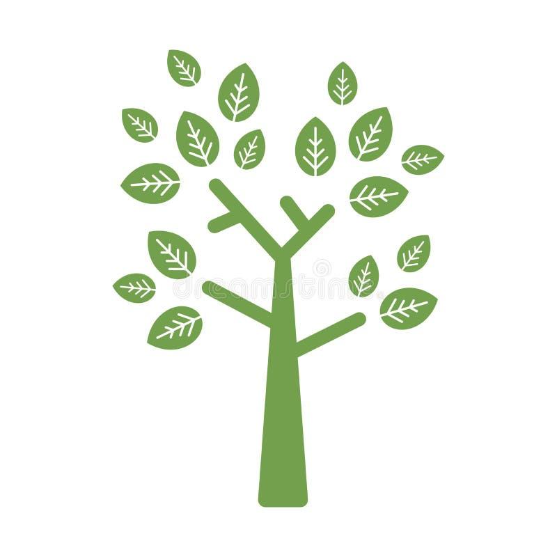 与在白色隔绝的平直的分支锐利叶子的绿色平的几何树 世界环境日商标 库存例证