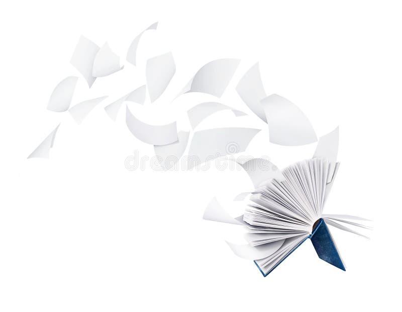 与在白色隔绝的扉页的空的书 免版税库存图片