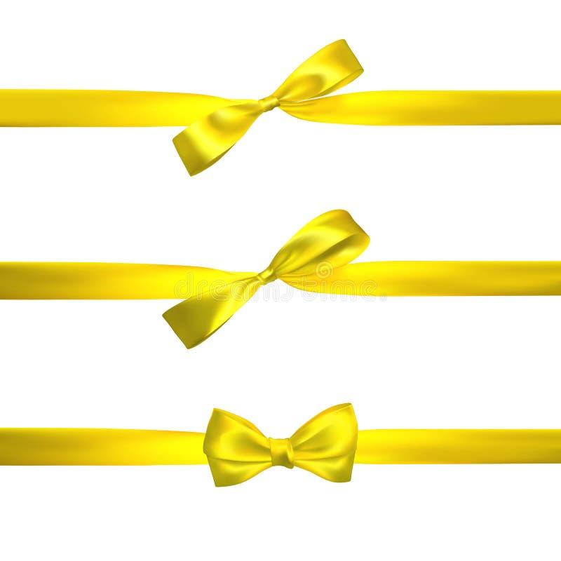与在白色隔绝的水平的黄色丝带的现实黄色弓 装饰礼物的元素,问候,假日 向量 库存例证