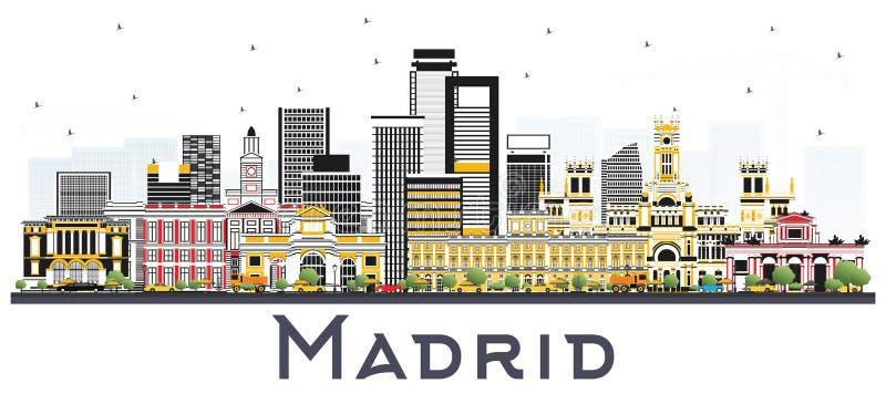 与在白色隔绝的灰色大厦的马德里西班牙地平线 皇族释放例证
