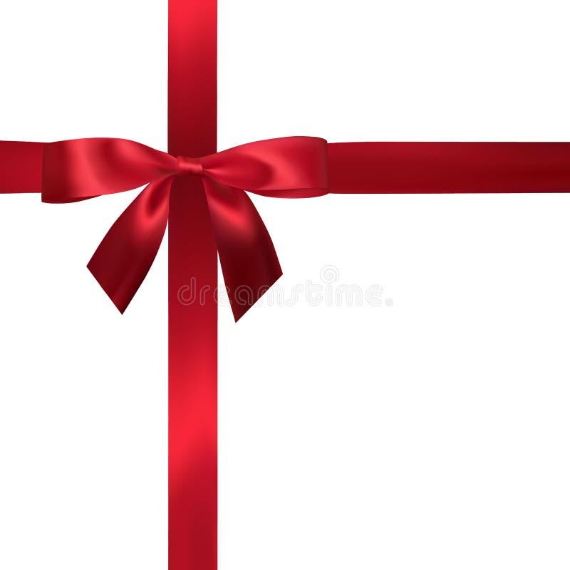 与在白色隔绝的红色丝带的现实红色弓 装饰礼物的元素,问候,假日 也corel凹道例证向量 皇族释放例证
