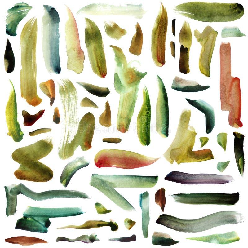 与在白色隔绝的绿色黄色,薄荷和草绿色明亮的刷子水彩冲程的大光栅例证 向量例证