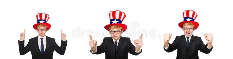 与在白色隔绝的美国帽子的商人 免版税库存图片
