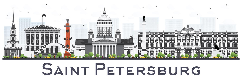 与在白色隔绝的颜色大厦的圣彼得堡地平线 库存例证