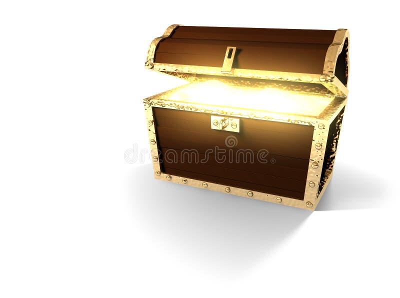 与在白色隔绝的发光的内容的宝物箱 向量例证