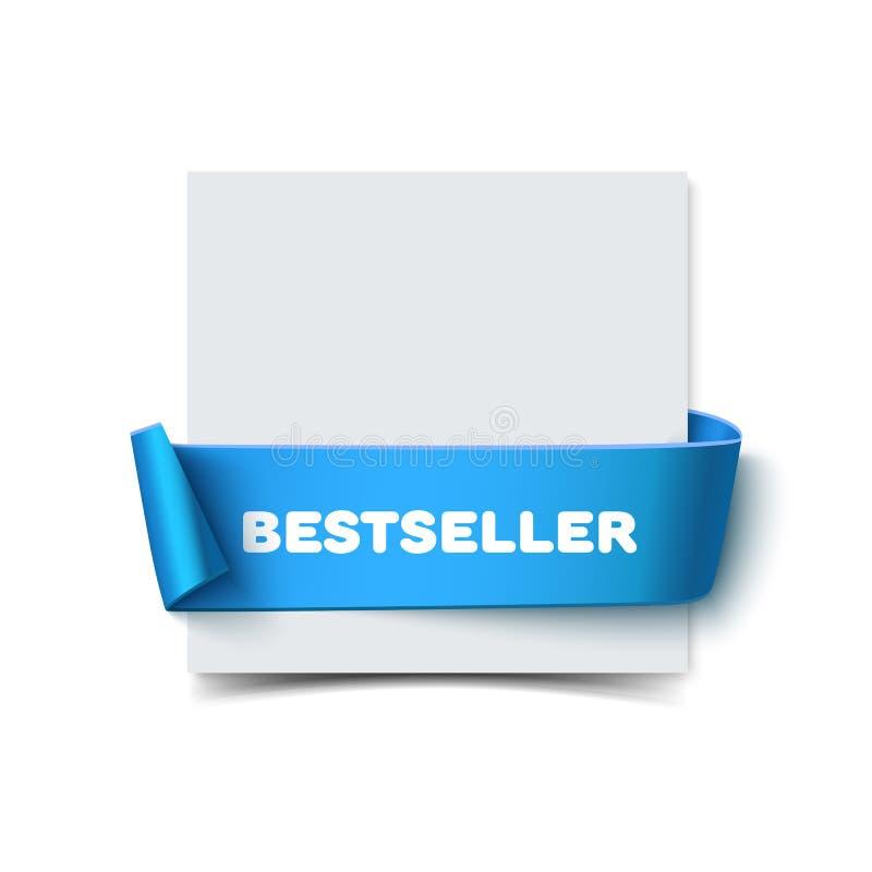 与在白色隔绝的弯曲的蓝色礼物丝带的纸贺卡 明信片的现实传染媒介例证 皇族释放例证