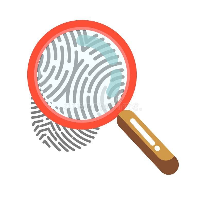 与在白色隔绝的放大镜的指纹 人的印刷品 皇族释放例证