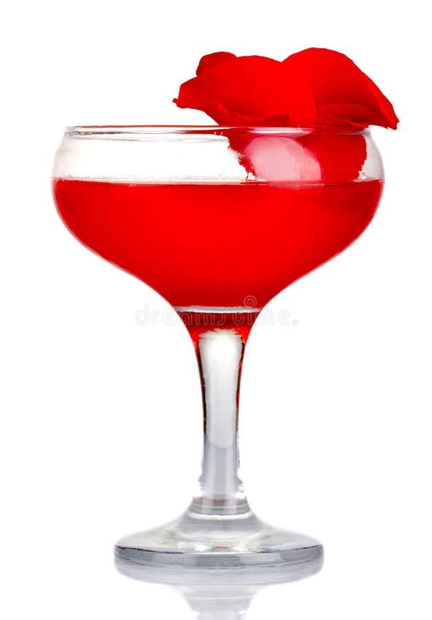 与在白色隔绝的玫瑰花瓣的红色酒精鸡尾酒 免版税库存照片