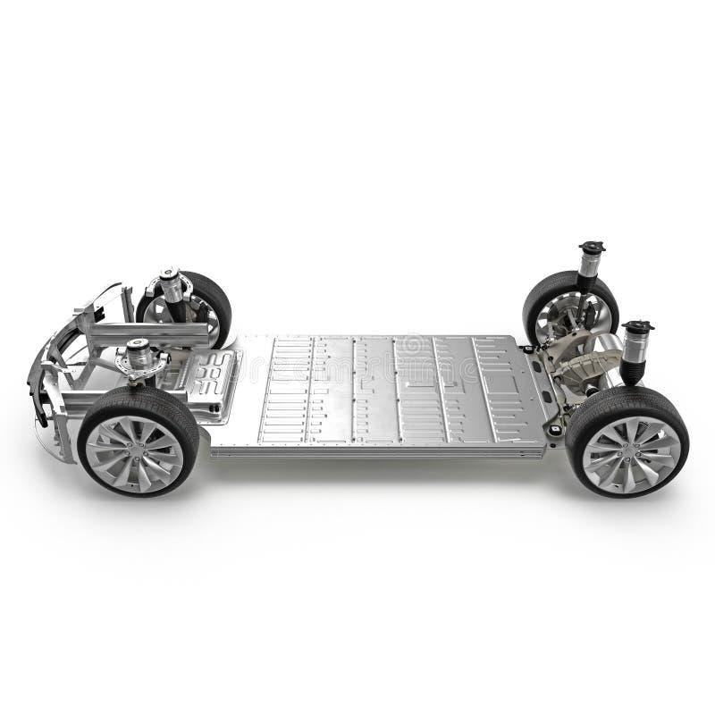 与在白色隔绝的电引擎的汽车底盘 侧视图 3d例证 向量例证