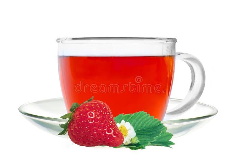 与在白色隔绝的草莓和绿色叶子的玻璃杯子茶 免版税库存图片
