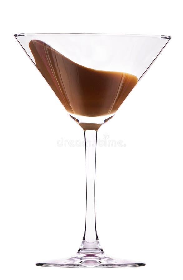 与飞溅的巧克力鸡尾酒 库存照片