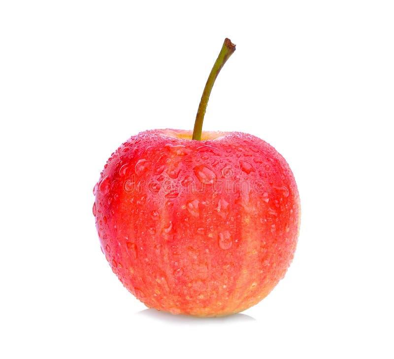 与在白色隔绝的水滴的矮小的苹果计算机 库存图片