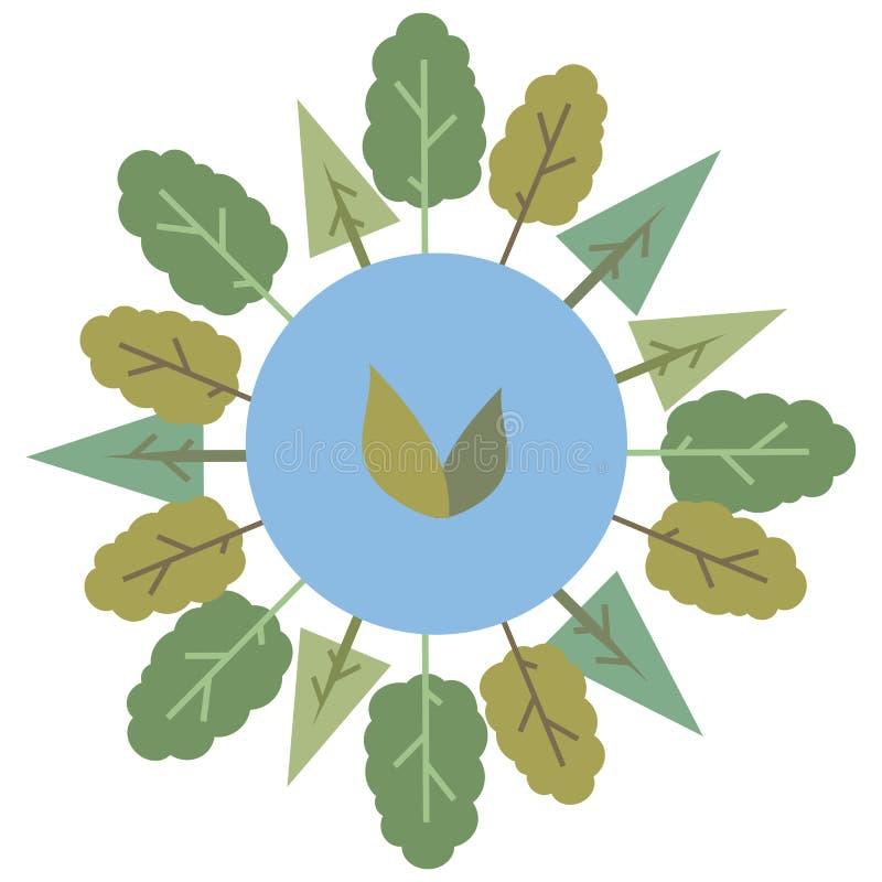 与在白色backgr围拢由绿色树世界自然图画传染媒介隔绝的绿色叶子象征的蓝色圆的行星地球 向量例证