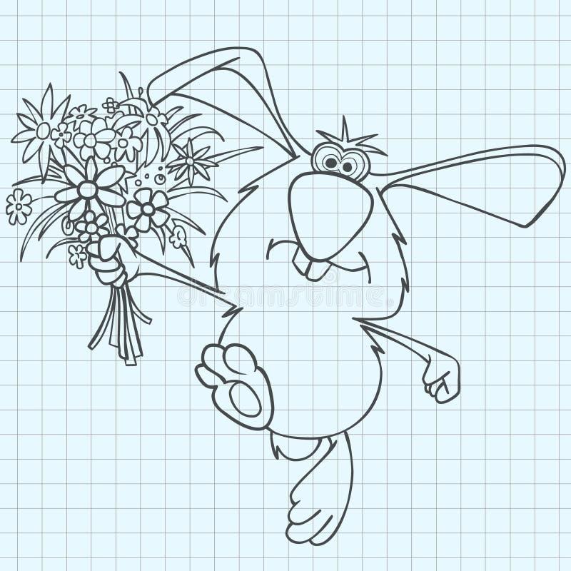 与在笔记本板料画的花花束的动画片兔子  皇族释放例证