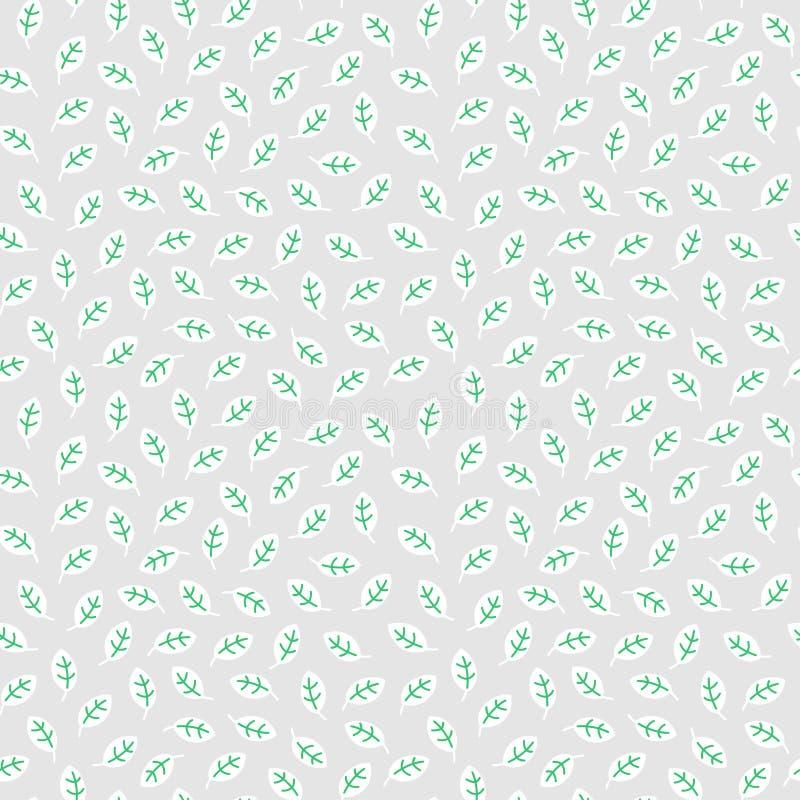 与在线性平的样式做的叶子的简单的无缝的样式在轻的背景 库存例证