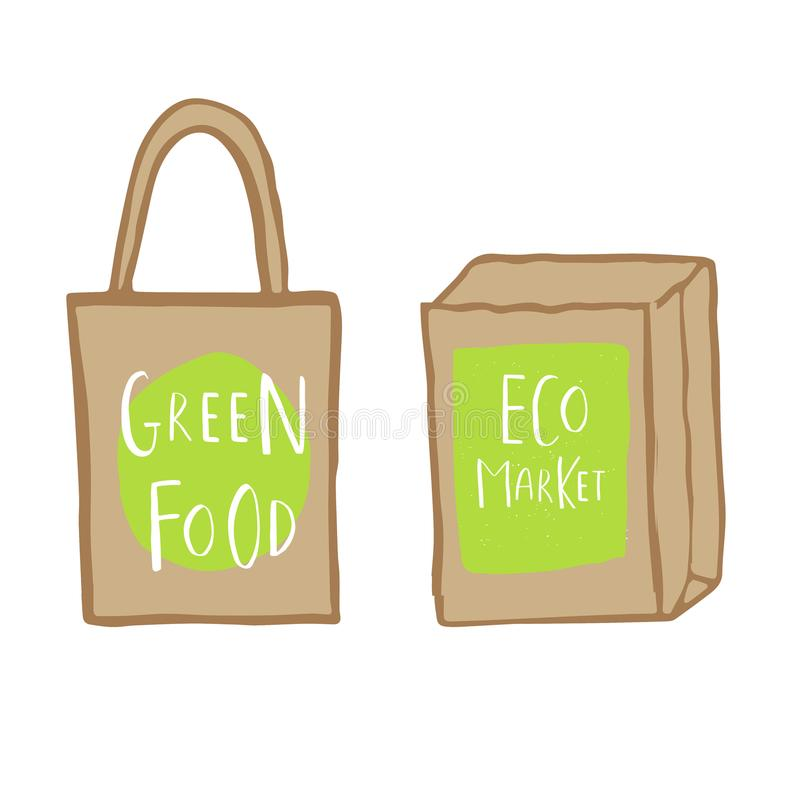 与在绿色食物和eco市场上写字的手拉的购物袋 皇族释放例证
