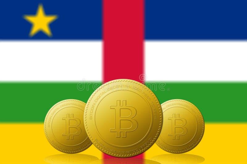 与在背景的中非旗子共和国的三Bitcoins cryptocurrency 向量例证
