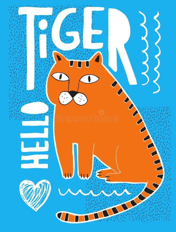 与在蓝色背景隔绝的手拉的橙色老虎的滑稽的抽象例证 皇族释放例证