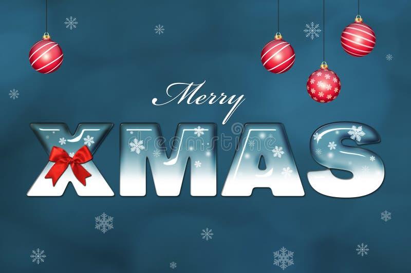 与在蓝色bac写的圣诞节问候的圣诞快乐卡片 向量例证