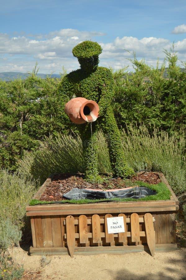 与在蕨雕塑再创的泥罐的农夫倾吐的水 免版税库存照片