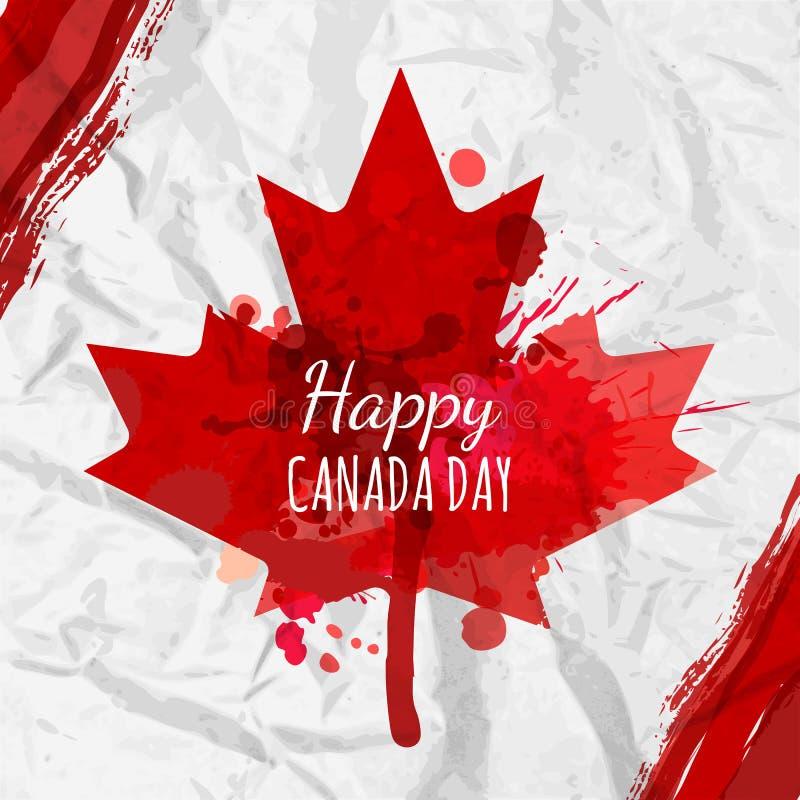 与在被弄皱的白皮书画的红色加拿大枫叶的假日海报 向量例证