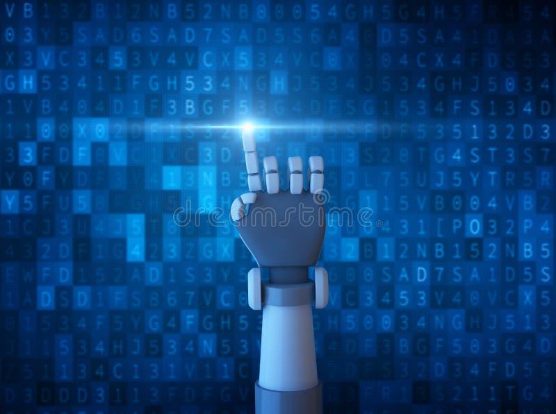与在计算机数据代码隔绝的光的机器人指点 向量例证