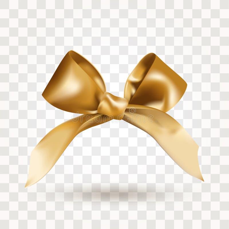 与在透明背景隔绝的结的金黄典雅的缎弓 o r 免版税库存照片