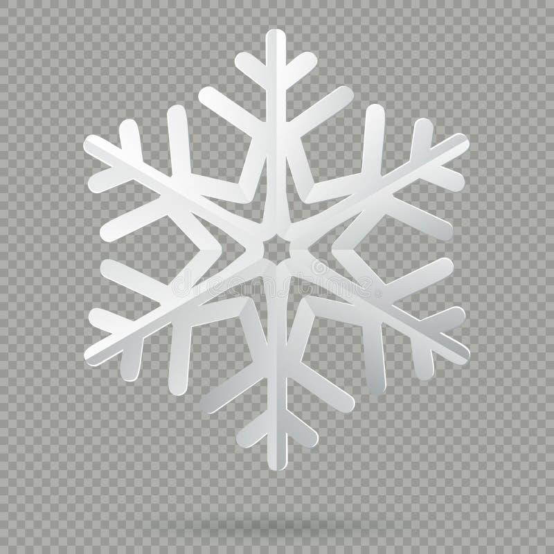 与在透明背景隔绝的阴影的白色现实被折叠的纸圣诞节雪花 10 eps 库存例证