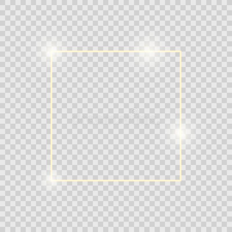 与在透明背景隔绝的阴影的金发光的发光的葡萄酒框架 金黄豪华现实方形的边界 向量例证
