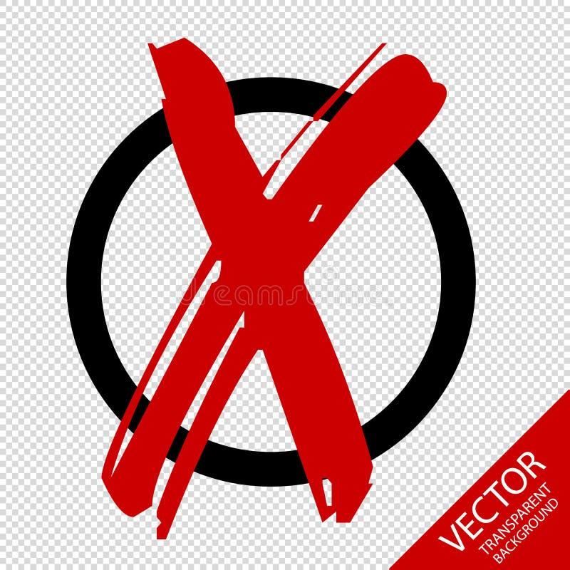 与在透明背景-隔绝的红色跨的传染媒介例证的象标志的被隔绝的圈子 皇族释放例证