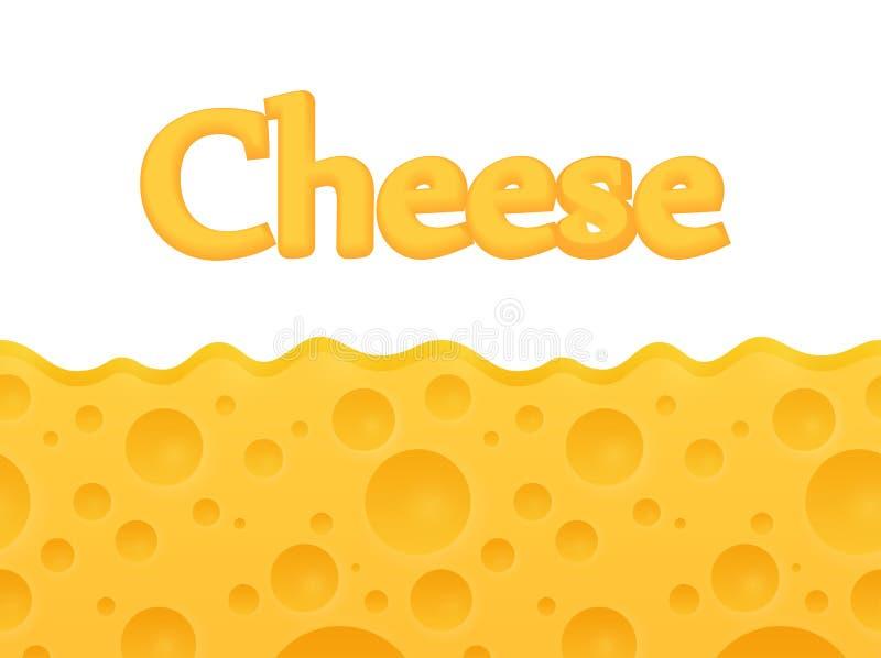 与在顶端拷贝空间-传染媒介动画片样式的水平的无缝的乳酪背景 库存例证