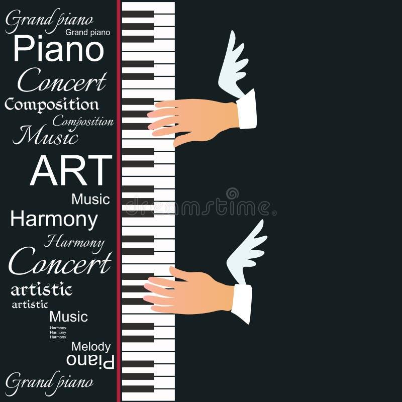 与在黑背景和飞过的音乐家手的创造性的传染媒介例证隔绝的琴键 库存例证