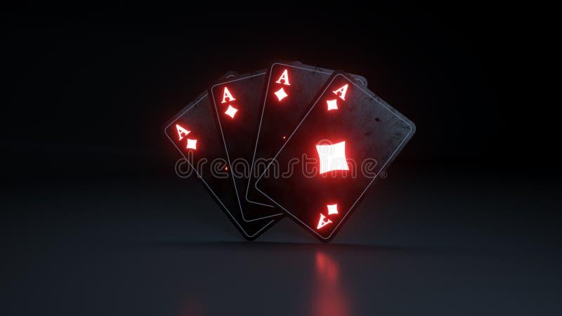 与在黑背景隔绝的发光的霓虹灯的四张金刚石一点纸牌- 3D例证 向量例证