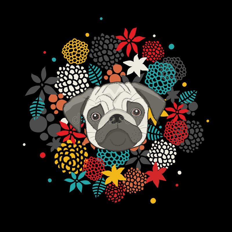 与在黑背景隔绝的哈巴狗的凉快的动物印刷品 在传染媒介的花卉艺术性的例证 库存例证