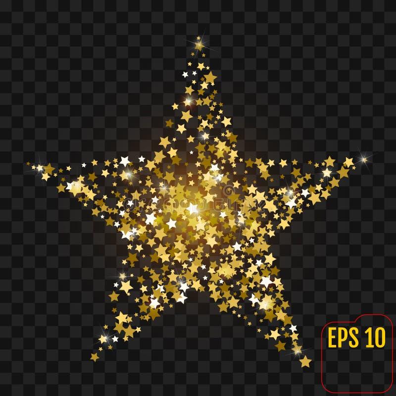 与在黑色隔绝的闪闪发光的金星 五彩纸屑金黄星形 库存例证