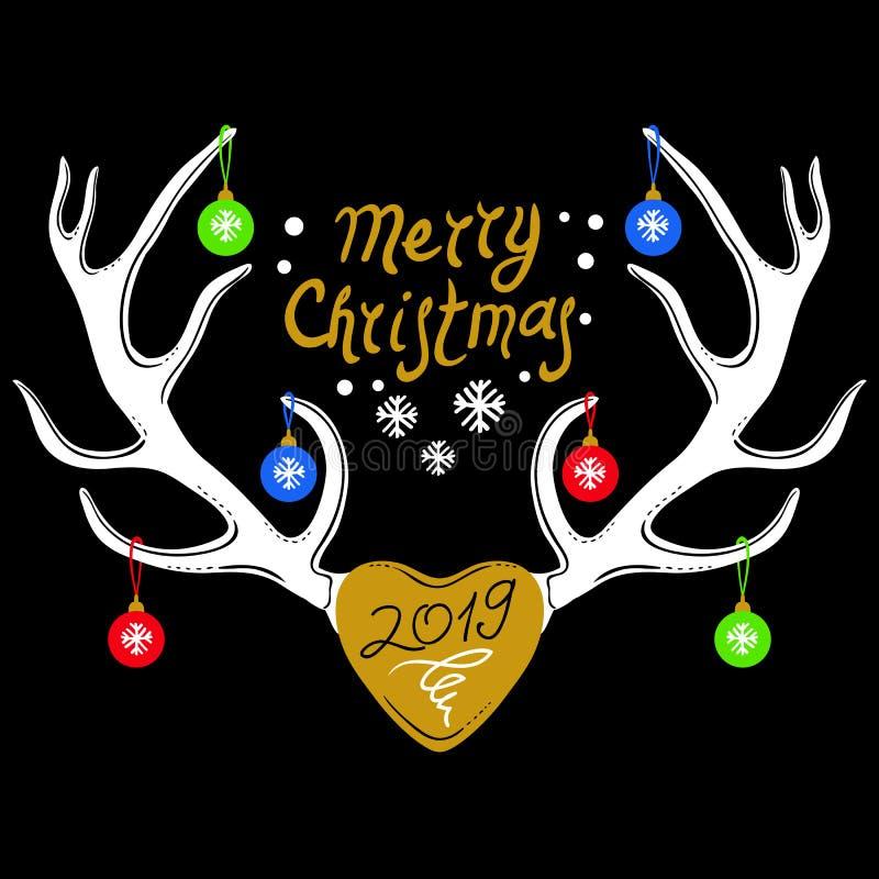 与在黑色隔绝的驯鹿鹿角的圣诞节设计 雪花冬天集 向量例证