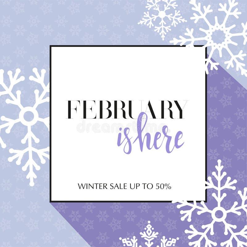 与在2月上写字的设计横幅在这里商标 季节销售ut的轻的淡紫色卡片到50与框架,白色雪花 库存例证