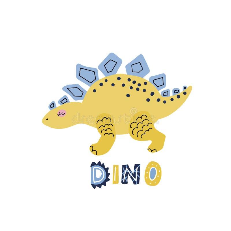 与在qoute迪诺上写字的传染媒介逗人喜爱的动画片手拉的恐龙剑龙 斯堪的纳维亚样式字符的传染媒介例证 皇族释放例证