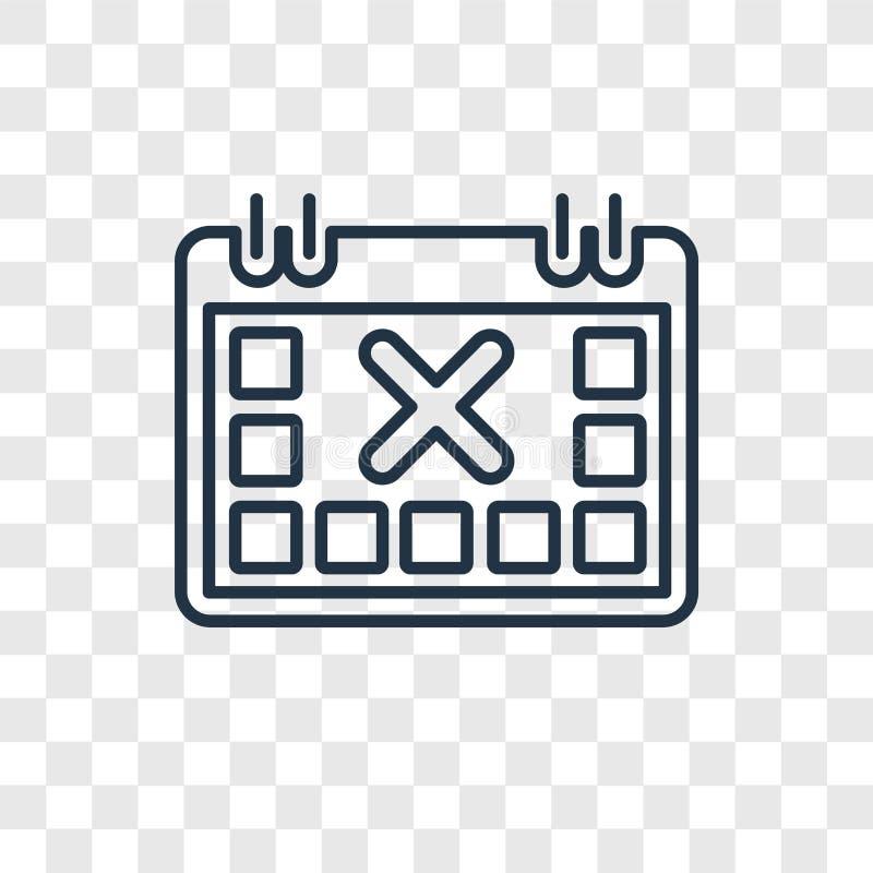 与在tr隔绝的信件x概念传染媒介线性象的日历 库存例证