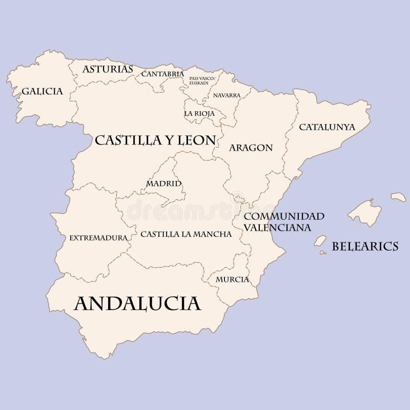 与地区名字的西班牙地图 向量例证