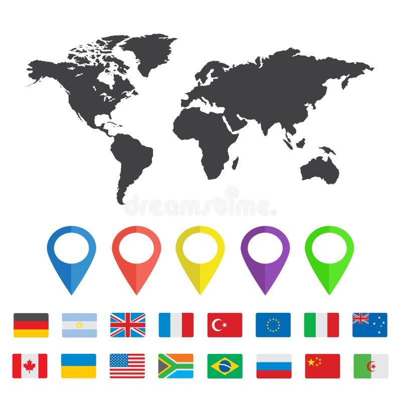 与地图其他国家别针和旗子的世界地图  库存例证