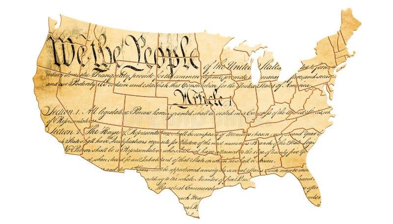与地图和文本的美国宪法概念 3d关于 库存例证