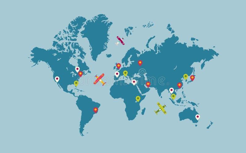 与地图尖和飞机的世界地图 免版税库存照片