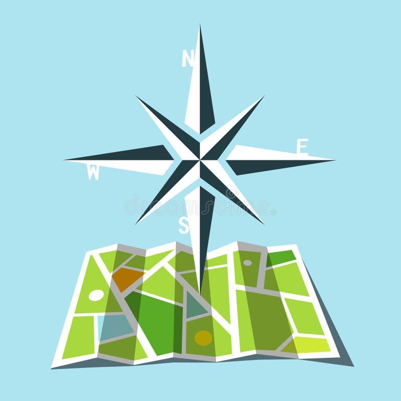 与地图的主要方向标志 库存例证