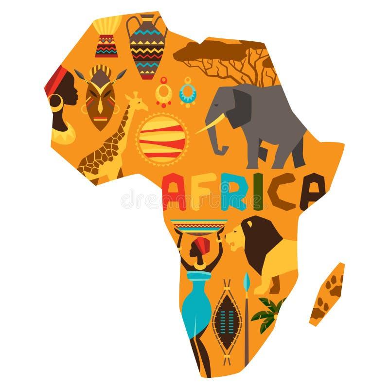 与地图的例证的非洲种族背景