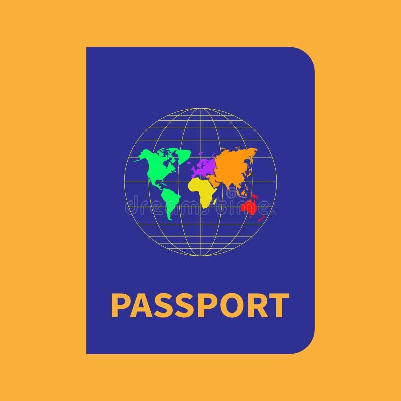 与地图的国际蓝色在黄色背景的护照和地球 传染媒介平的样式 皇族释放例证