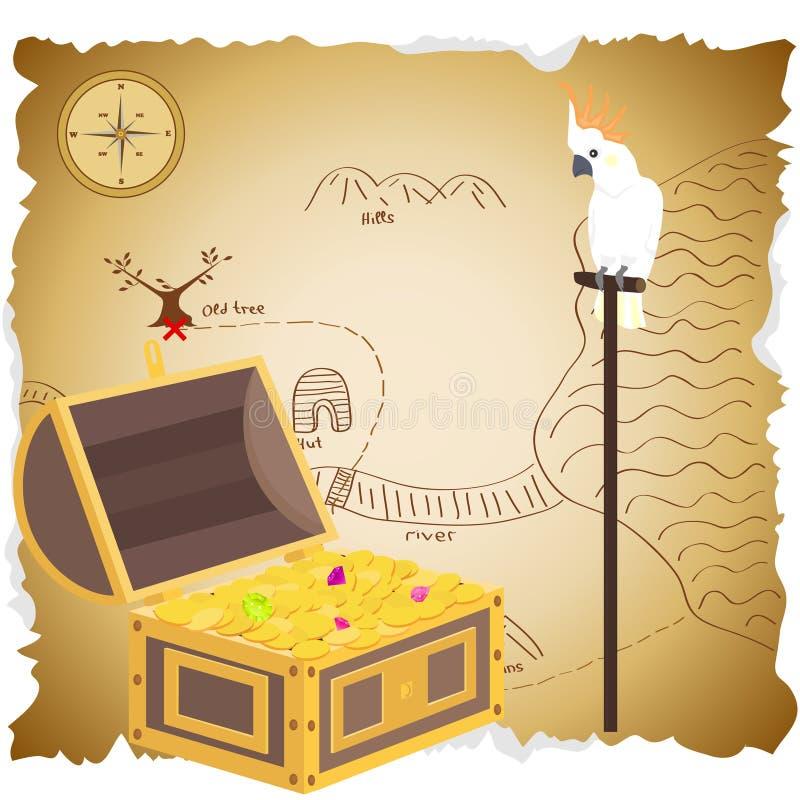 与地图的宝物箱 黄铜胸口铸造指南针充分的金黄刀子位于的映射老海盗头骨珍宝非常 鹦鹉美冠鹦鹉在珍宝的穹顶坐 向量例证